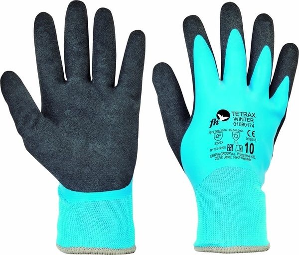 Zateplené rukavice TETRAX WINTER máčené v latexu 1e0e1f39e9